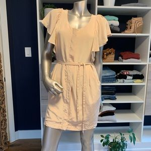 Club Monaco Nude Silk Flutter Sleeve+Pocket Dress